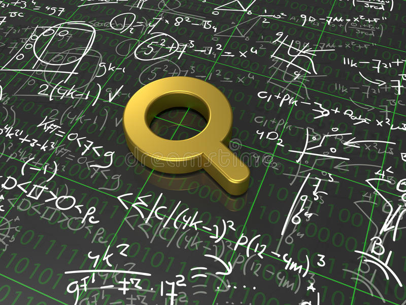 Search Algorithm. A golden magnifying glass surrounded with formulas vector illustration