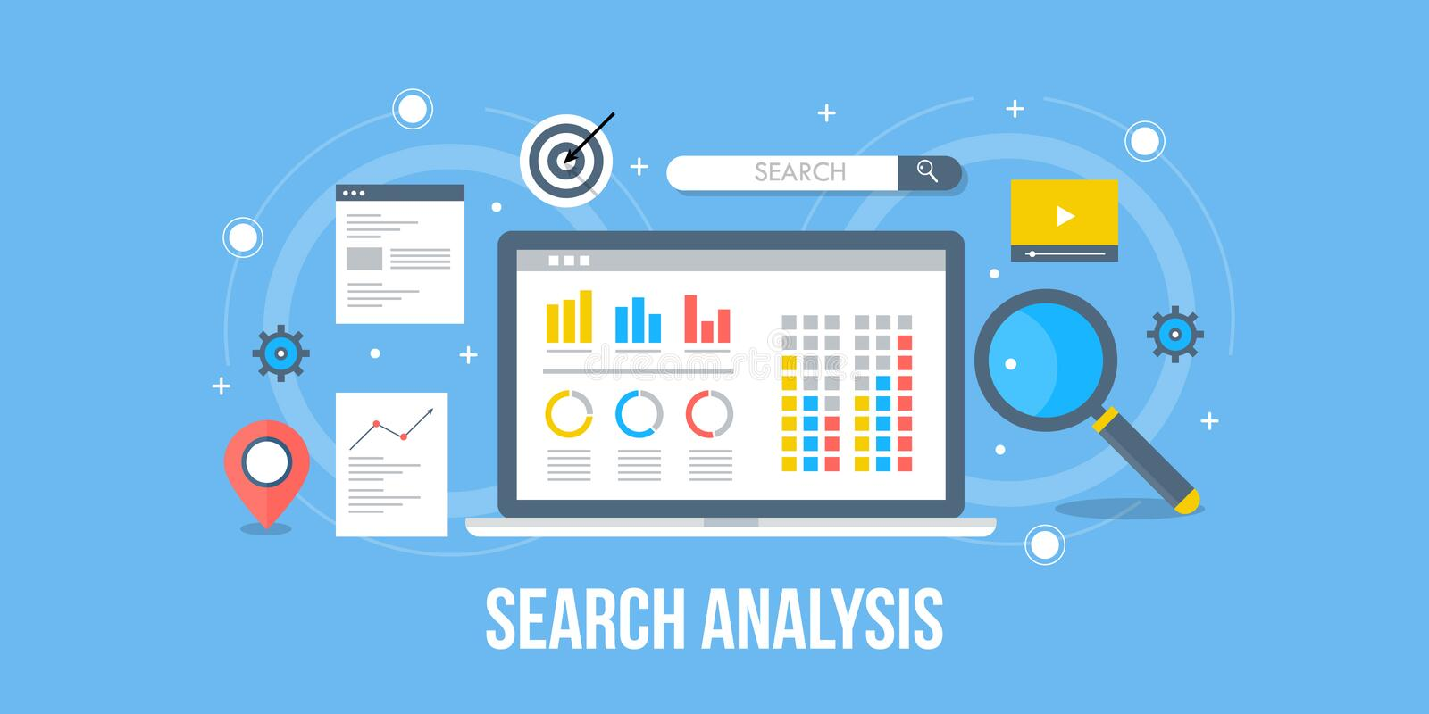 Search analysis -Search for business analysis - search for marketing information. Flat design analytic banner. royalty free illustration