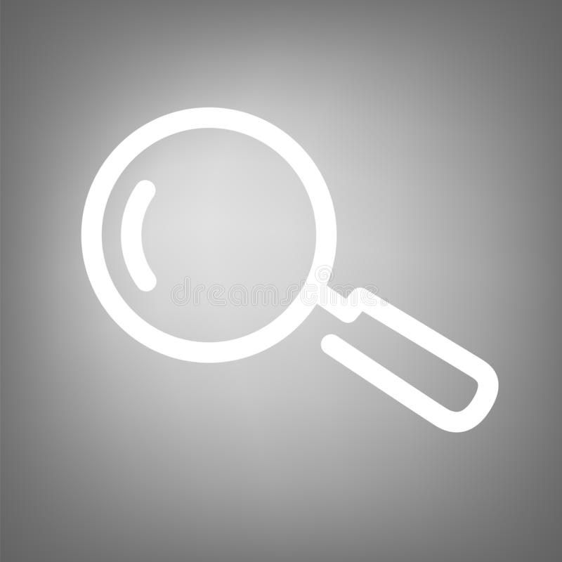 Search or analysis icon. Magnifying glass sign. Flat line design stock illustration