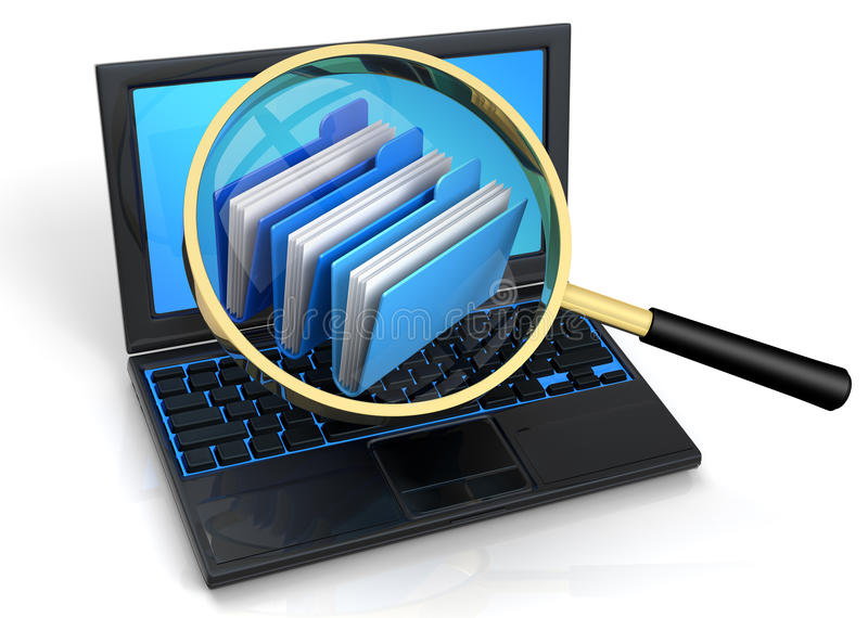 Search Archives. 3D rendered illustration of magnifier, aiming and focusing on an archives icon, floating over a laptop screen royalty free illustration