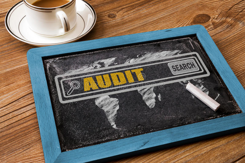 Search for audit concept. On blackboard stock photos