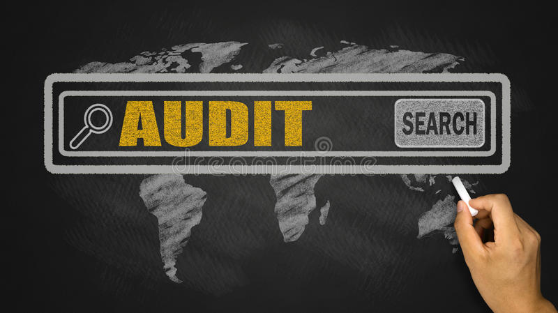 Search for audit concept. On blackboard stock image