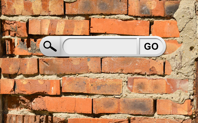 Search bar in browser. Cracked bricks wall on background stock photography