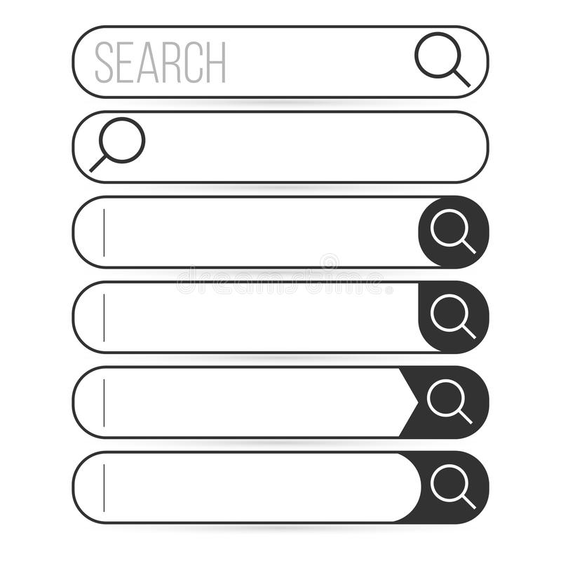 Search bar element design, set of search boxes with magnifying glass ui template on white background. Search bar element design, set of search boxes with royalty free illustration