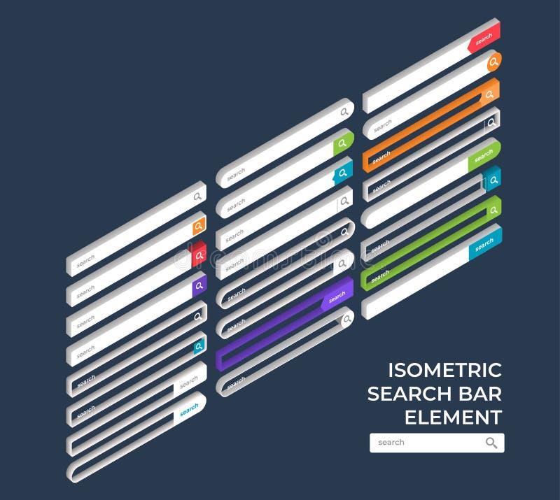 Search bar element. Isometric search bar vector element design templates set. Vector illustrations vector illustration