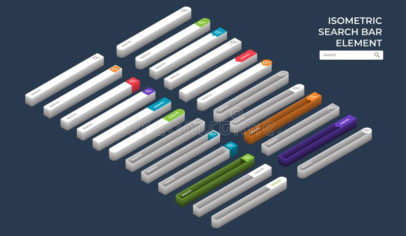 Search bar element. Isometric search bar vector element design templates set. Vector illustrations royalty free illustration