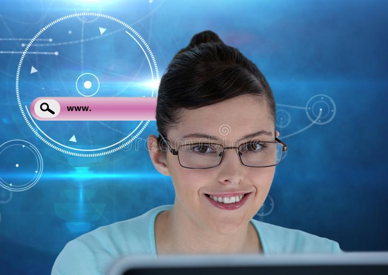 Search Bar with woman on computer royalty free stock images