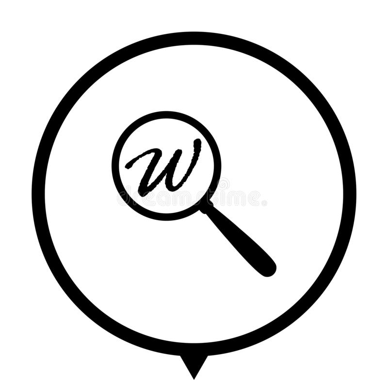 Search icon for web design. Search - black vector icon; map pointer royalty free illustration