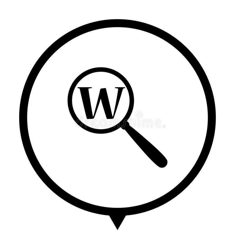 Search icon for web design. Search - black vector icon ; map pointer vector illustration