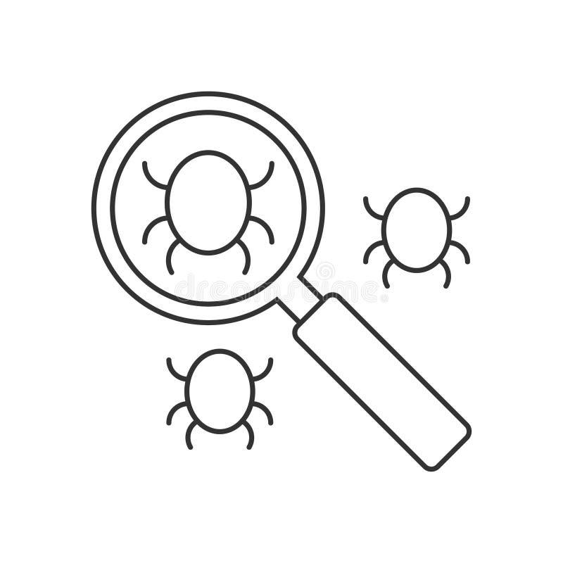 Search bug line icon stock illustration