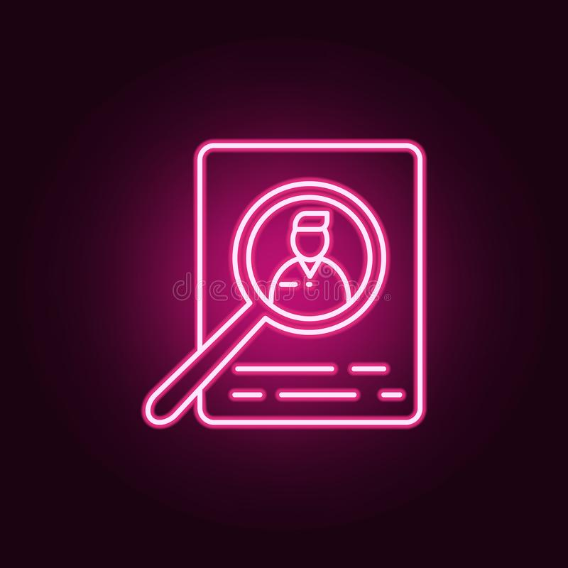 Search for candidates for work icon. Elements of interview in neon style icons. Simple icon for websites, web design, mobile app,. Info graphics on dark stock illustration