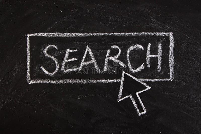 Search. Chalk written mouse cursor press button of search on blackboard stock image
