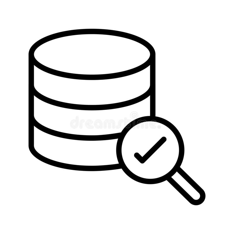 Search complete database thin line vector icon. Search complete database vector icon. Elements for mobile concept and web apps. Thin line icons for website stock photography
