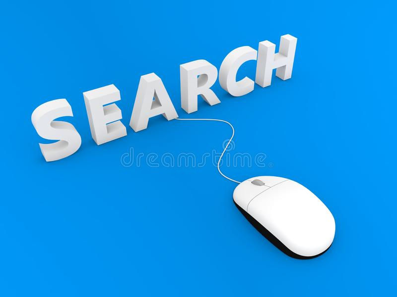 Search and computer mouse on a blue background. 3d render illustration vector illustration