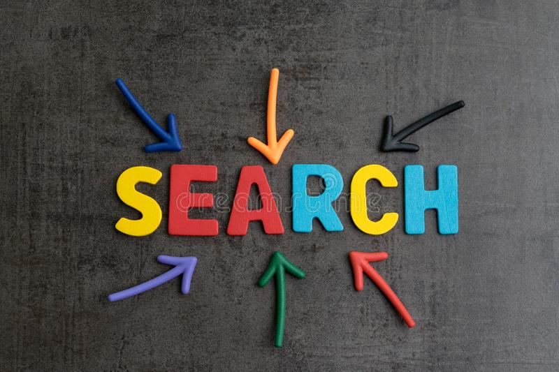 Search concept, best way finding website and content from the internet, result by SEO ranking, arrows pointing to word SEARCH at. The center of cement wall stock image