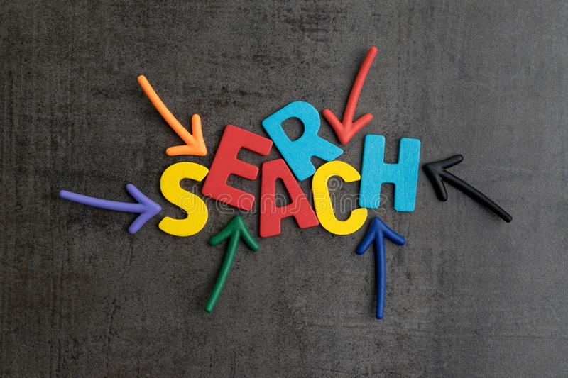 Search concept, best way finding website and content from the internet, result by SEO ranking, arrows pointing to word SEARCH at. The center of cement wall royalty free stock image