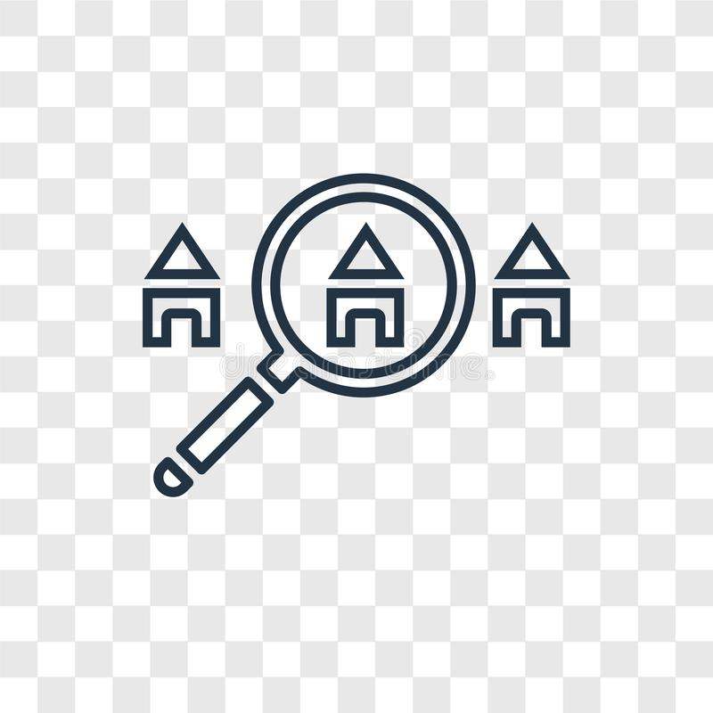 Search concept vector linear icon isolated on transparent background, Search concept transparency logo in outline style. Search concept vector linear icon stock illustration