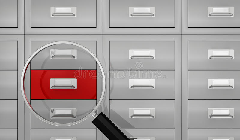 Search data. One big office file drawer with a magnifying glass that show a red drawer, concept of search data (3d render royalty free illustration