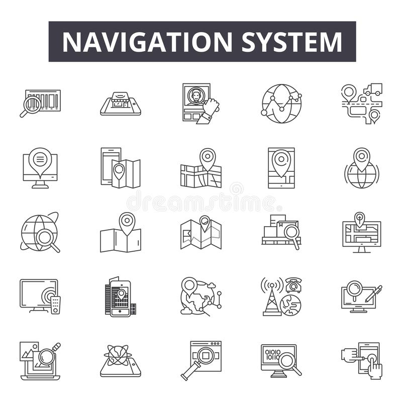Search, detection, navigation system line icons, signs, vector set, linear concept, outline illustration. Search, detection, navigation system line icons, signs royalty free illustration