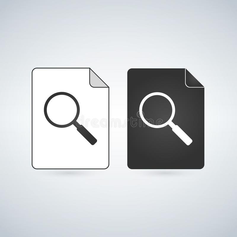 Search Document file vector icon with magnifying glass. flat sign for mobile concept and web design. Paper doc simple solid icon. vector illustration
