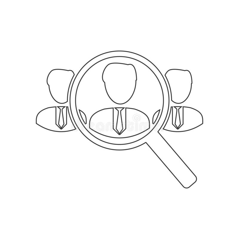 Search for employees and job icon. Element of HR for mobile concept and web apps icon. Outline, thin line icon for website design vector illustration