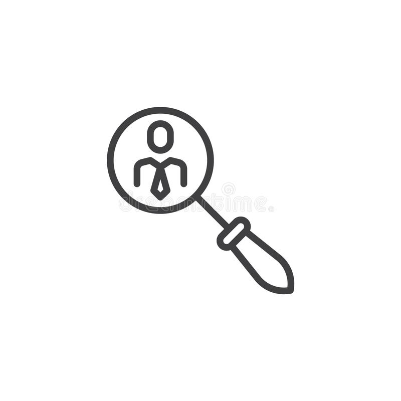 Search for employees line icon royalty free illustration