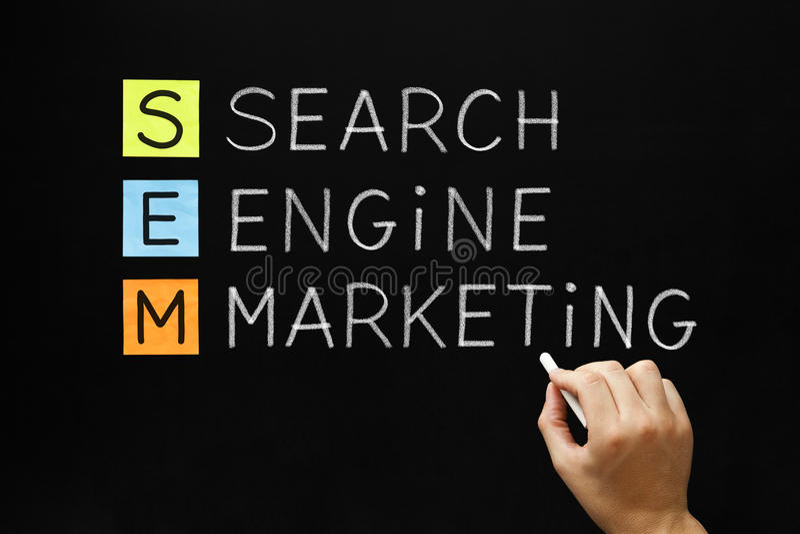 Search Engine Marketing Acronym. Hand writing Search Engine Marketing with white chalk on blackboard royalty free stock photos
