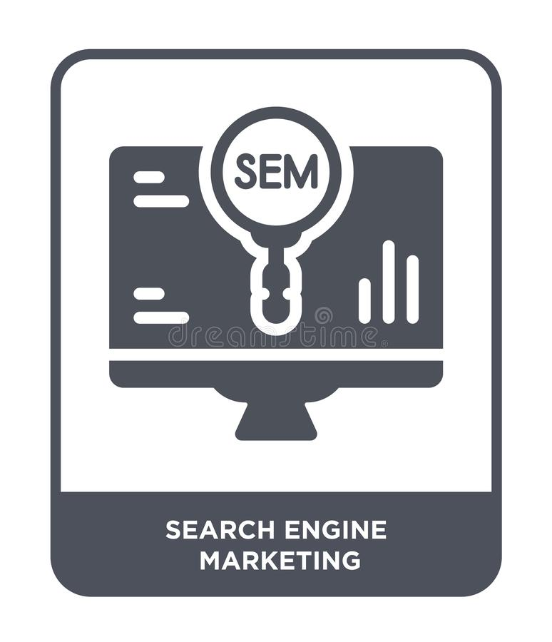 Search engine marketing icon in trendy design style. search engine marketing icon isolated on white background. search engine. Marketing vector icon simple and royalty free illustration