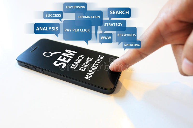 Search engine marketing. Social media, search engine marketing stock photo