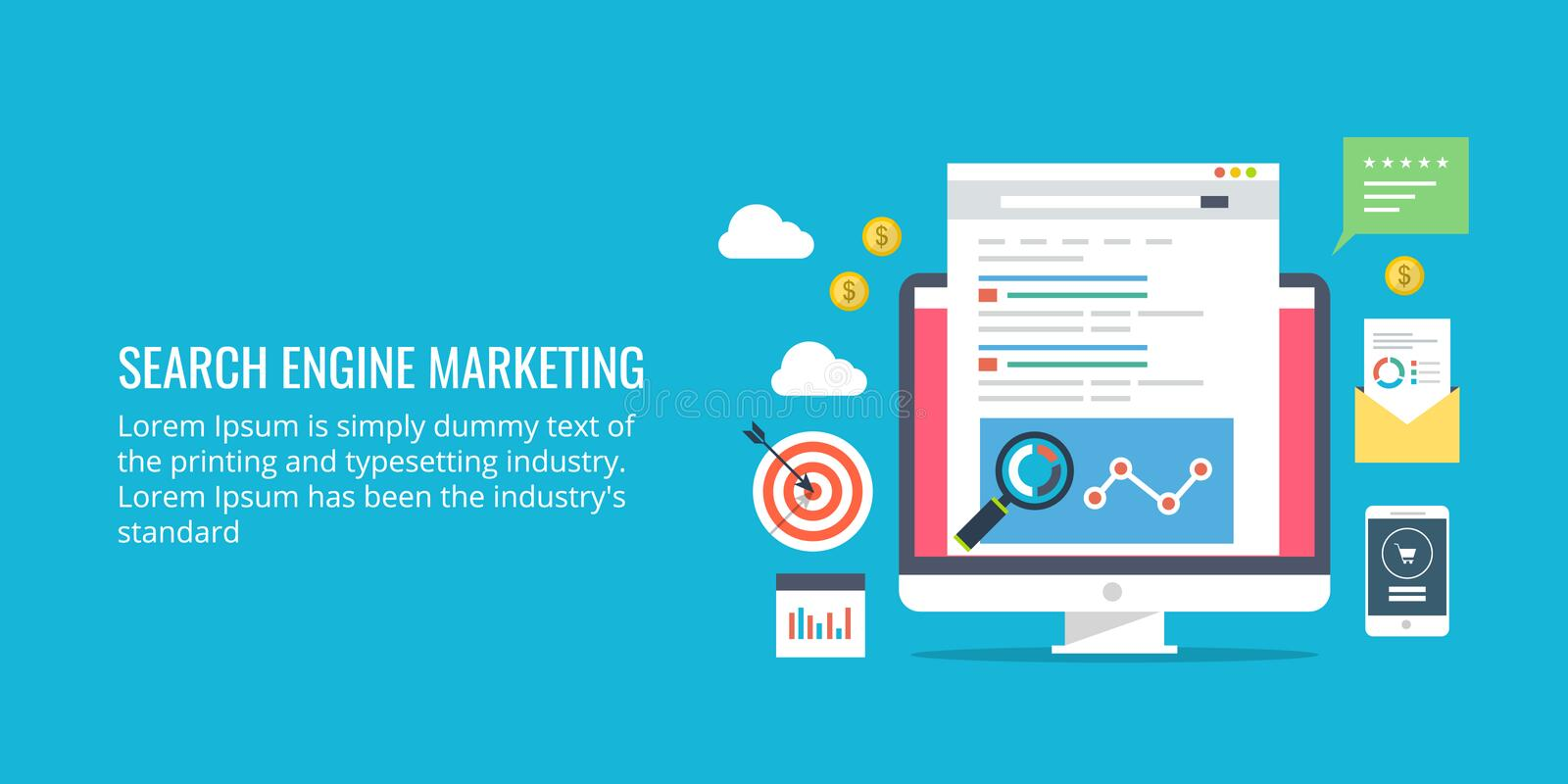 Search engine marketing, web and mobile paid advertising, analytics. Flat design marketing banner. vector illustration