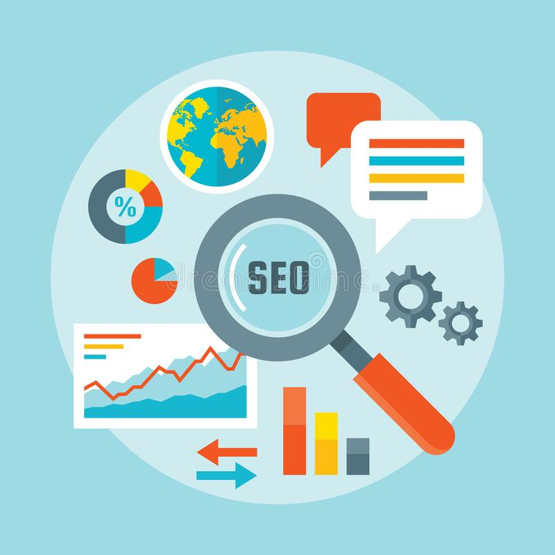 Search engine optimization - concept vector illustration in flat design style. Web analytics information and development website royalty free illustration