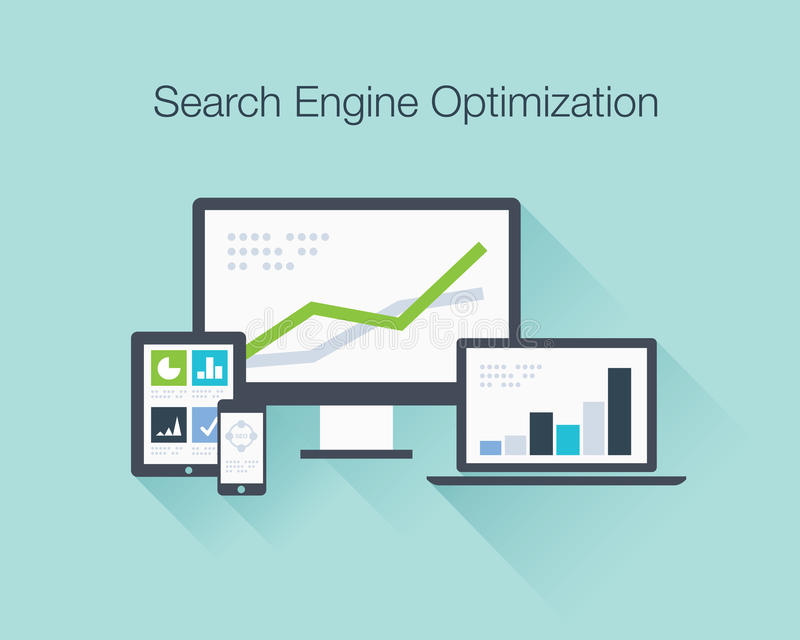 Search Engine Optimization flat icon illustration. Search Engine Optimization flat icons illustration vector concept shows SEO data analysis vector illustration