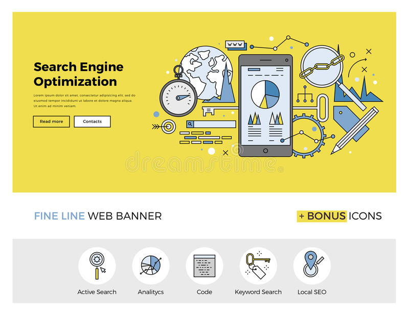 Search engine optimization flat line banner. Flat line design of web banner template with outline icons of search engine optimization service, SEO data analytics royalty free illustration