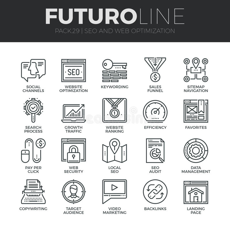 Search Engine Optimization Futuro Line Icons Set. Modern thin line icons set of search engine optimization tools for growth traffic. Premium quality outline vector illustration
