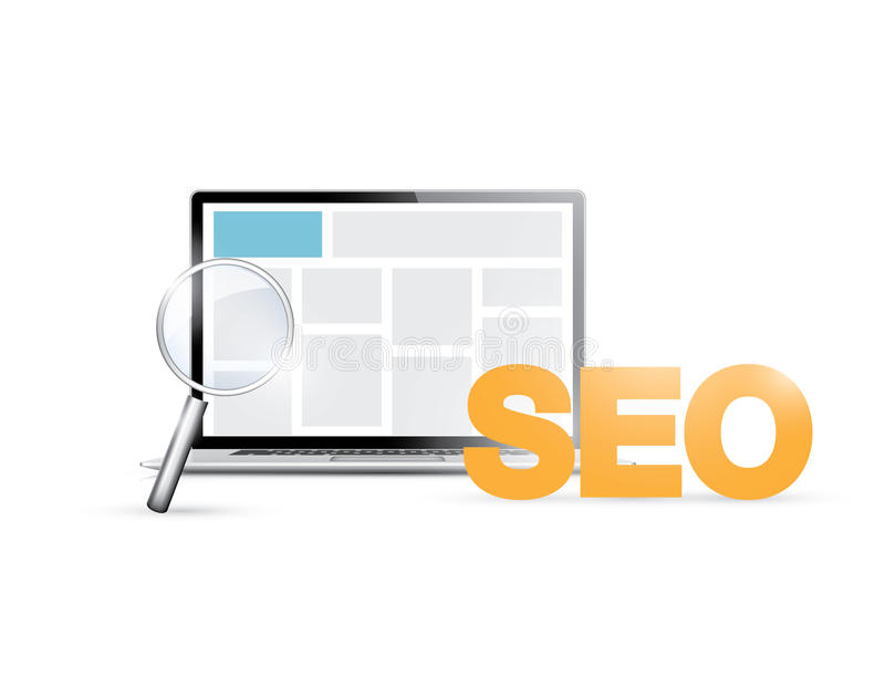 Search engine optimization planning. Vector illustration of modern internet business concept royalty free illustration