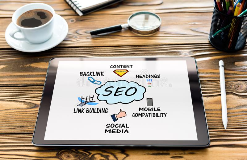 Search Engine Optimization SEO Concept. On Laptop Computer Screen stock image