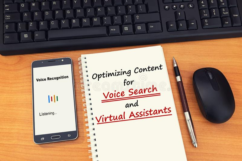 Search engine optimization strategies for marketers to optimize content for voice search. royalty free stock photo