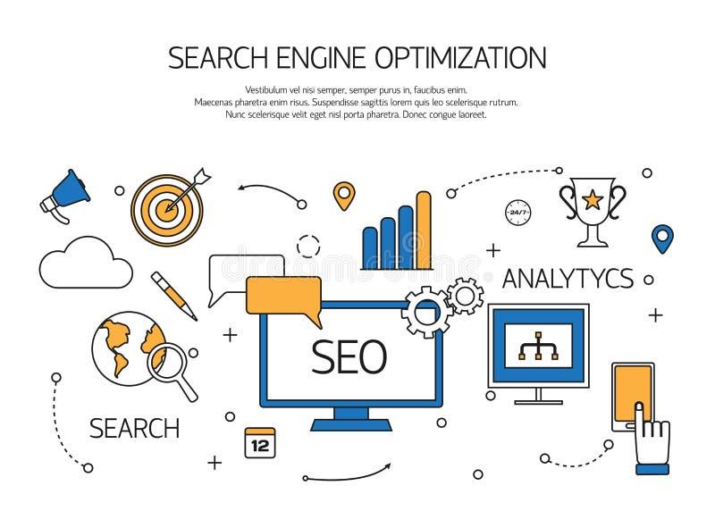 Search engine optimization technology outline vector illustration