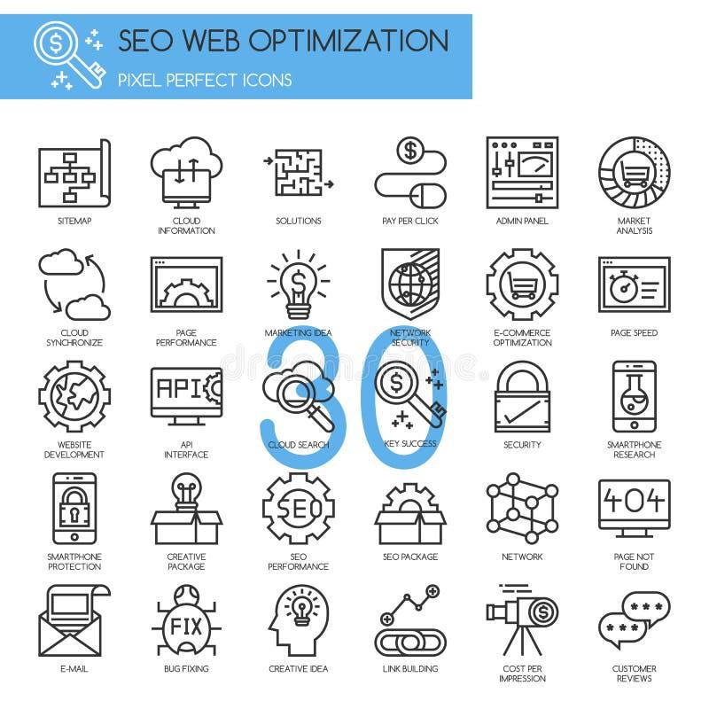 Search engine optimization , thin line icons set. EPS10 royalty free illustration