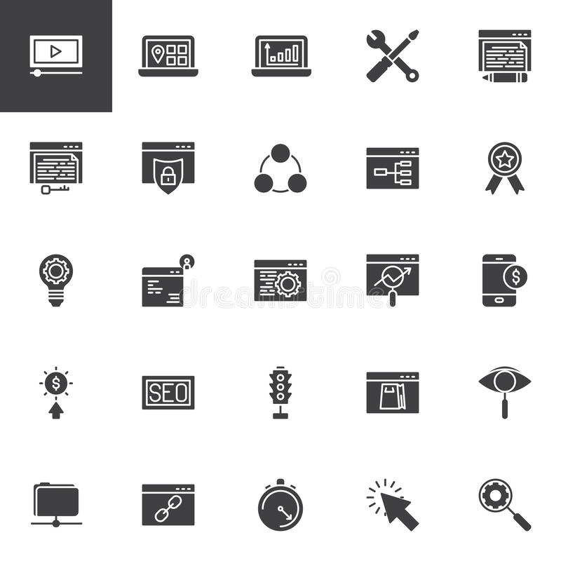 Search engine optimization vector icons set. Modern solid symbol collection, filled style pictogram pack. Signs, logo illustration. Set includes icons as seo stock illustration