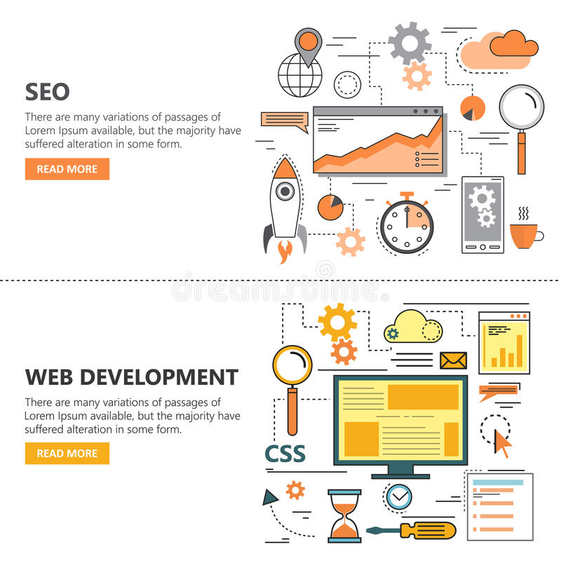 Search Engine Optimization and Web development flat thin line design banners. Vector icons. Search Engine Optimization and Web development flat thin line design royalty free illustration