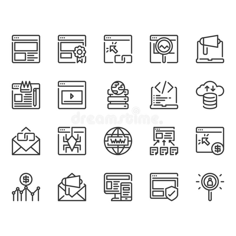 Search engine optimization and web icon set.Vector illustration royalty free illustration