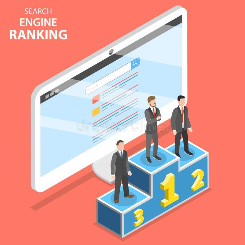Search Engine que classifica o vetor isométrico liso ilustração royalty free