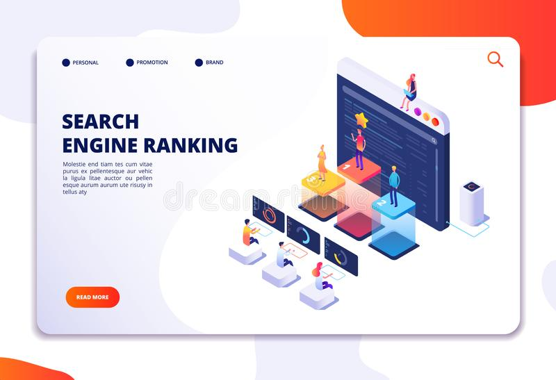Search engine rank isometric landing page. Seo marketing and analytics, online ranking result. 4ir 3d vector concept vector illustration