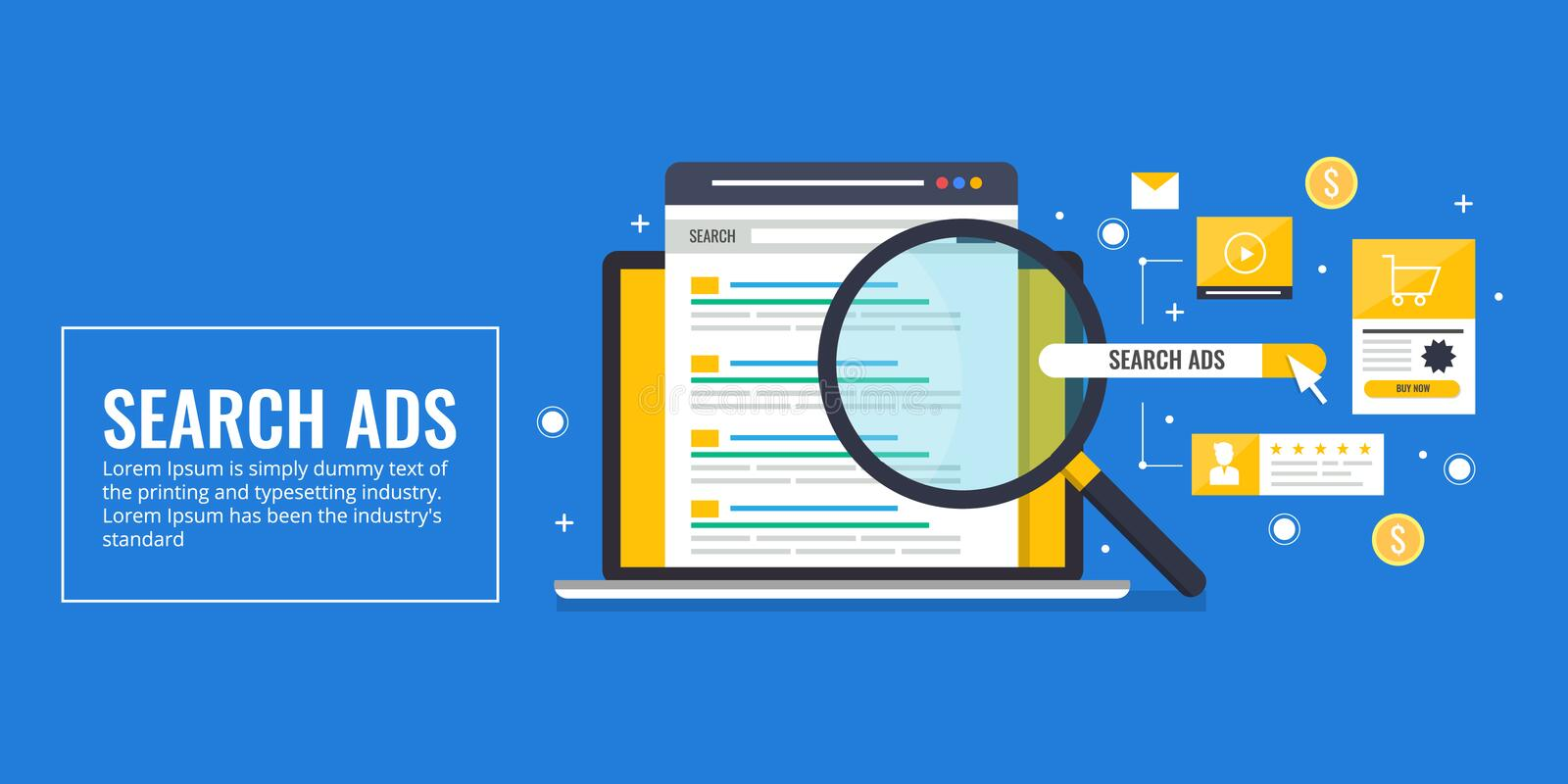 Search engine advertising, pay per click, keyword biding, ppc concept. Flat design vector banner. royalty free illustration