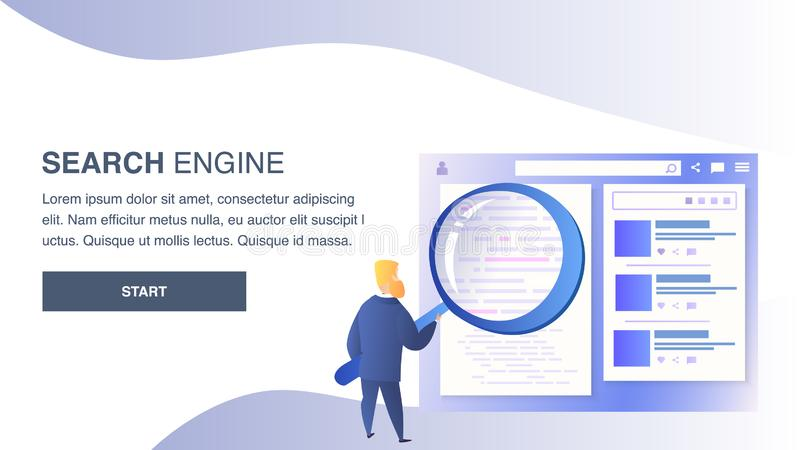 Search Engine Website Flat Vector Color Template royalty free illustration