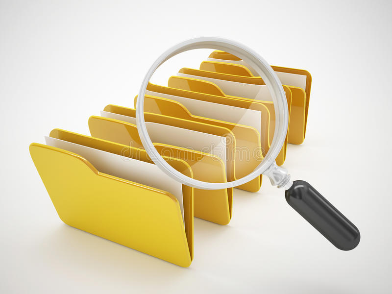 Search file or computer file icon. Search file or computer icon. 3d high quality rendering royalty free illustration