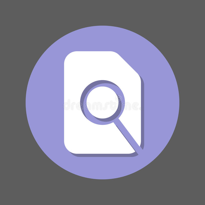 Search in file, magnifying glass and document flat icon. Round colorful button, circular vector sign with shadow effect. stock illustration