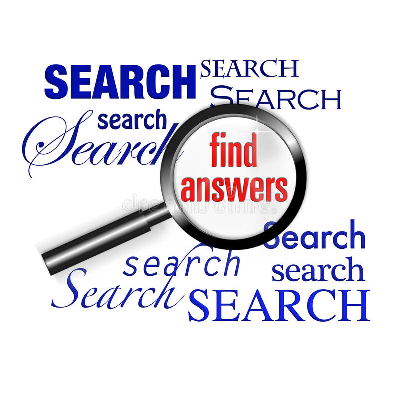 Search find answers magnify glass stock illustration