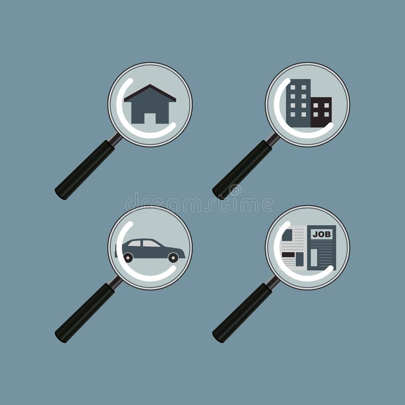 Search and Find house property estate car Job Vector. And Icon stock illustration
